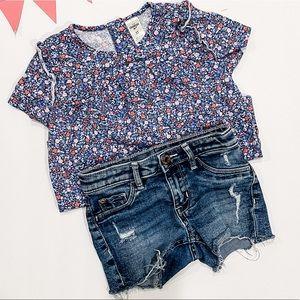 H&M denim short + OshKosh Floral Ruffle Top 5T